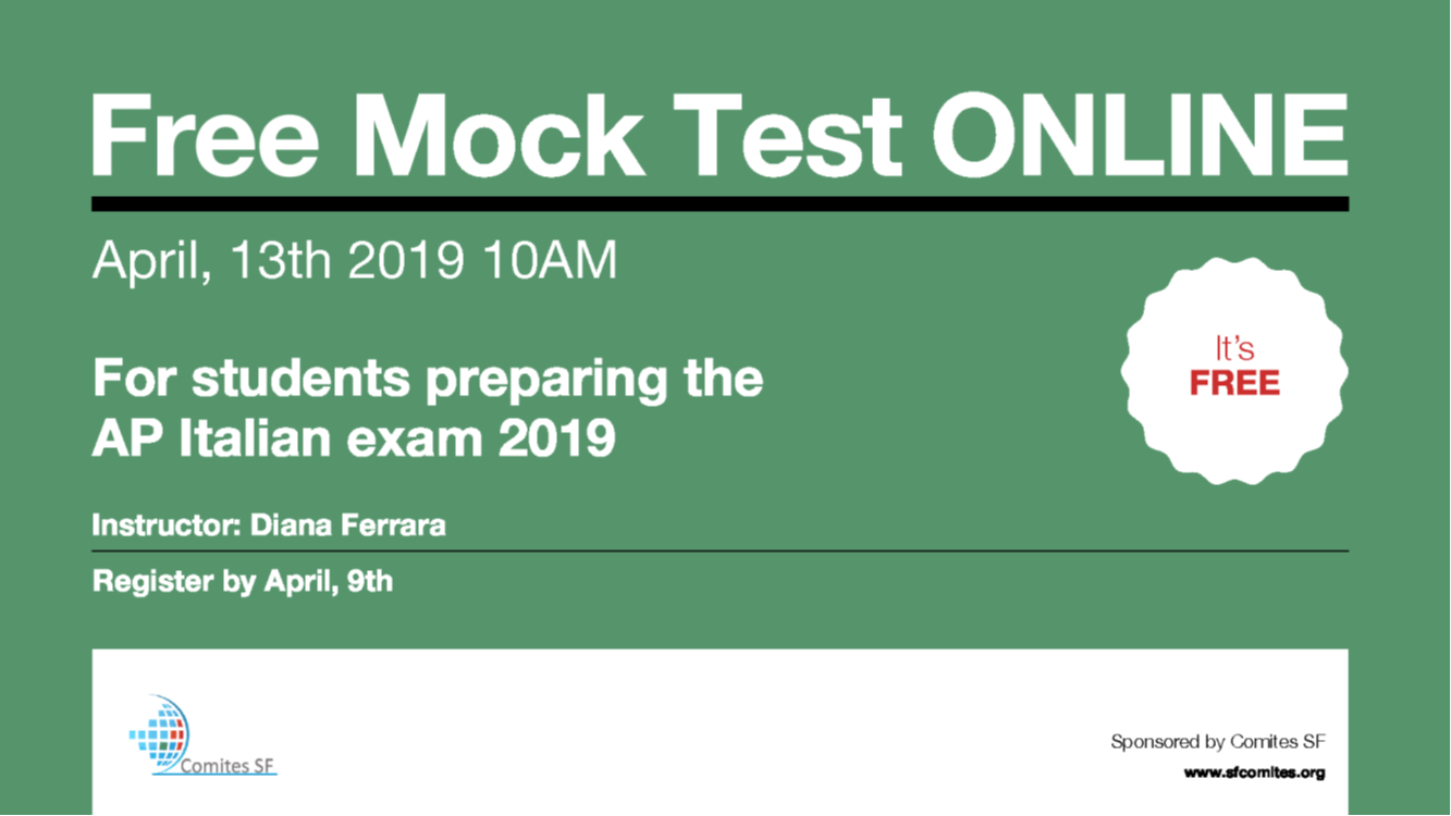 Mock Test ONLINE for students preparing AP Italian 2019