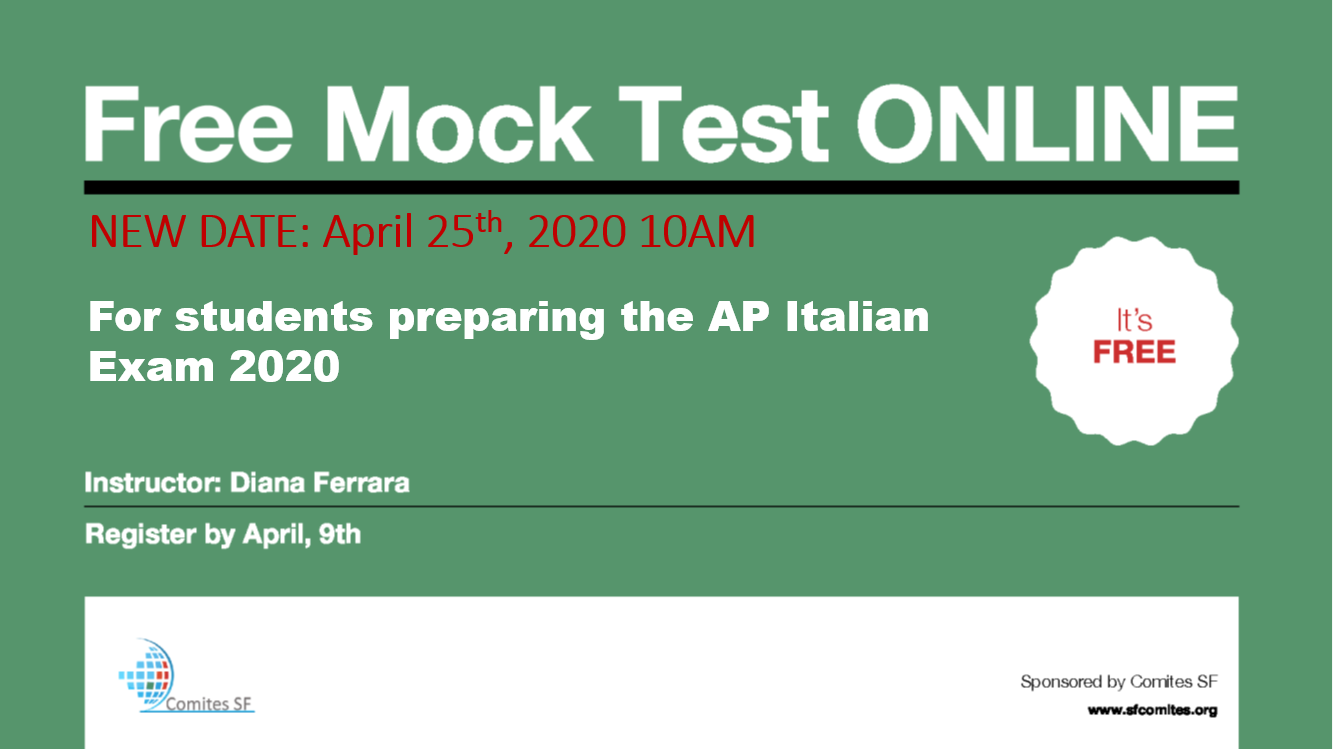 Mock Test ONLINE for students preparing AP Italian 2020